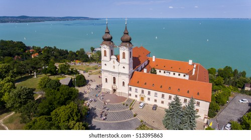 Aerial photo shows the historical Benedictine monastery of Tihany in Hungary's Balaton region