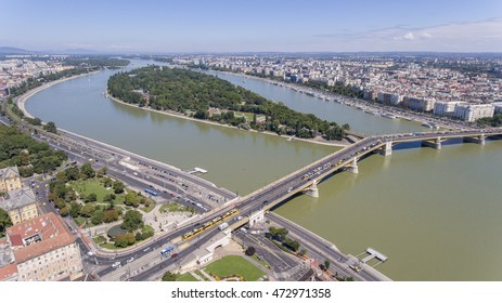Aerial photo shows the Margaret Island and the Margaret Bridge in Budapest, Hungary