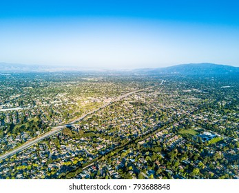 Aerial photo of the Silicon Valley in California