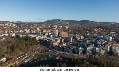 Aerial photo of Skoyen urban area in Oslo seen towards Holmenkollen