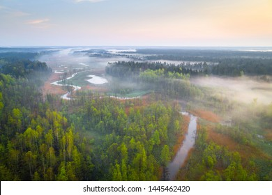 Aerial photo of a small river in Hrodna forest (Augustow forest)
