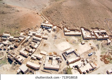 Aerial photo of a small village between Kabul and Ghazni in Afghanistan with compounds