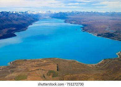 Aerial Photo of Southern Alps and Lake Tekapo