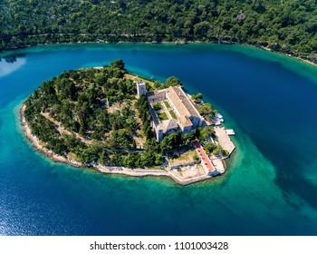 Aerial photo of the St. Mary island on island of Mljet In Croatia