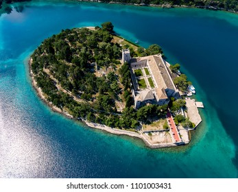 Aerial photo of the St. Mary island on island of Mljet In Croatia