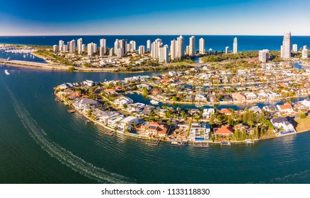 Aerial photo of Surfers Paradise and Southport on the Gold Coast