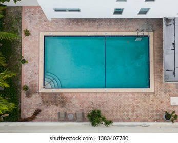 Aerial photo of a swimming pool overhead