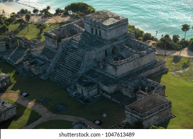 Aerial photo take from a plane to Mayan  archaeological zone Tulum in Quintana Roo, Mexico. August 14,2010.