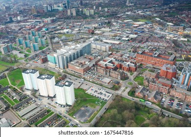Aerial photo take in the town of Harehills in Leeds just outside the city centre, showing the St James's University Hospital known as Jimmy's with traffic and ambulances parked up at the A&E entrance.