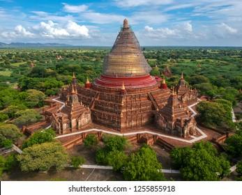 Aerial photo Temple Bagan Myanmar