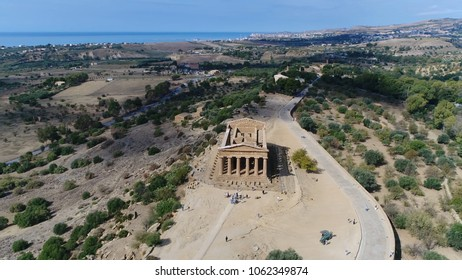 Aerial photo Temple of Concordia front in Italian Tempio della Concordia an ancient Greek temple in the Valley of the Temples or Valle dei Templi in Agrigento on south coast of Sicily Italy