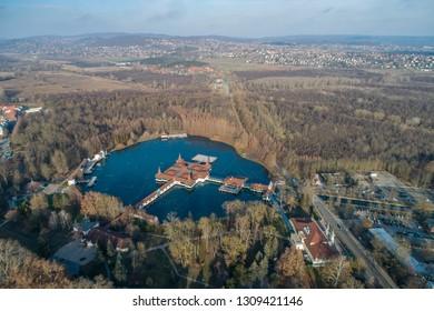 Aerial photo of thermal lake in Heviz, Hungary