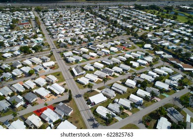 Aerial photo of a trailer park in Florida