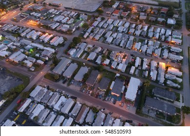 Aerial photo of a trailer park mobile homes
