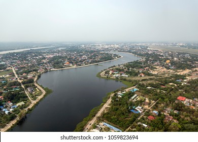 Aerial photo of Ubon Ratchathani  One of the provinces in Northeastern Thailand.