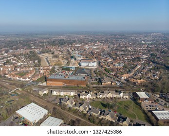 Aerial photo of the UK town of Wokingham. Wokingham is a historic market town in Berkshire, England, 39 miles west of London