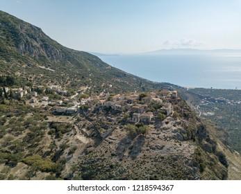 Aerial photo of Upper Qeparo and Qeparo beach (Albanian Riviera, Albania)