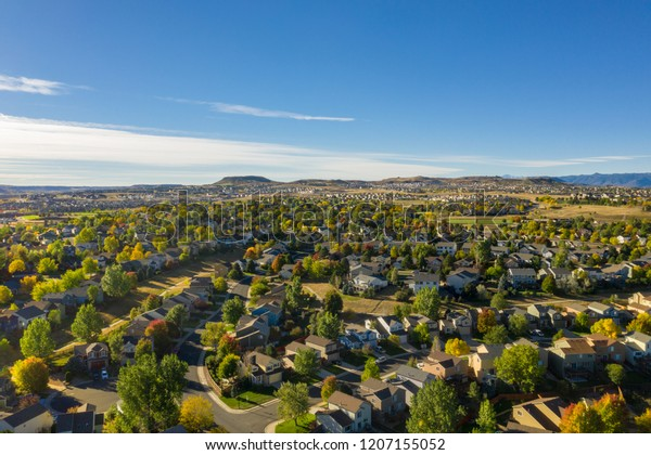 Aerial photo of urban sprawl in the small town of Castle Rock, Colorado