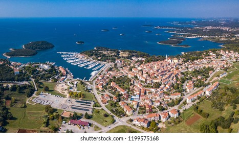 Aerial photo of Vrsar, a small town on the western coast of the Istrian peninsula in Croatia,EU.