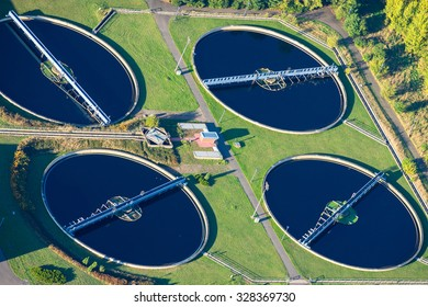 Aerial photo of water purification plant, Cottbus, Brandenburg, Germany.