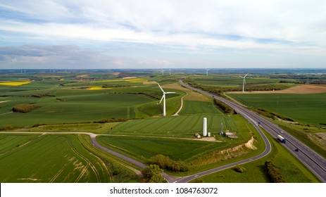 Aerial photo of wind turbines along the Estuary highway in Widehem, France