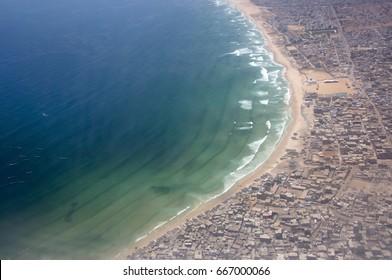 Aerial photo of the Yoff coast in Dakar, Senegal