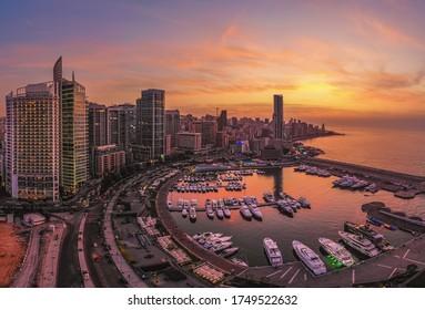 Aerial photo of Zaitunay Bay Beirut at sunset time