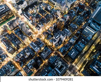 Aerial photograph of business area and beautiful neon.