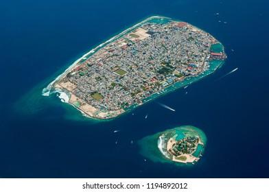 Aerial photograph of Malé, capital island of Maldives