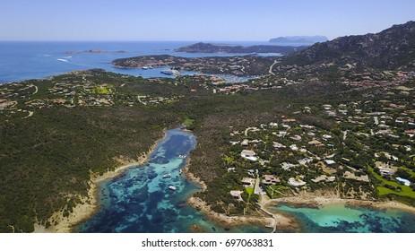 Aerial photograph of Capo Ferro -Sardinian coastline. Porto Cervo and Tavolara on the background.