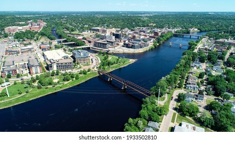 aerial photograph of the Chippewa River approaching the confluence in downtown eau claire wisconsin