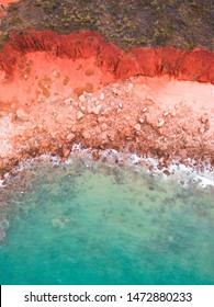 Aerial photograph of the coastline in Broome, Western Australia. Taken with a drone and showcasing the stunning contrasts and colours of the Kimberley region.