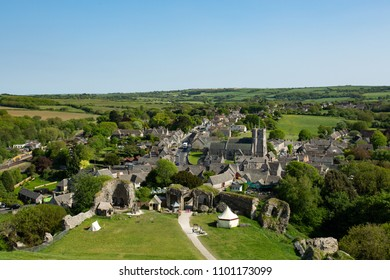 Aerial photograph of Corfe Castle village in Dorset, UK
