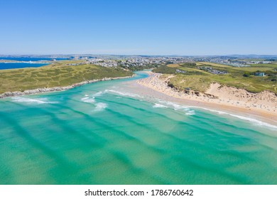 Aerial Photograph of Crantock Beach and Pentire head, Newquay, Cornwall, England