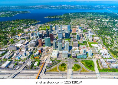 Aerial photograph of downtown Bellevue, Washington.  Microsoft buildings and city skyline.
