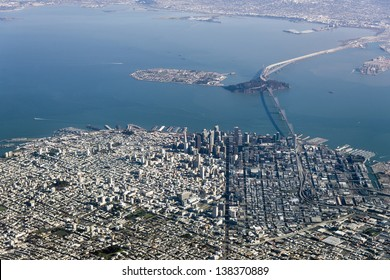 Aerial Photograph of downtown San Francisco and the Bay