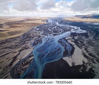 Aerial photograph of a glacial river system in the south of Iceland.