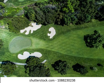 Aerial photograph of golf course.