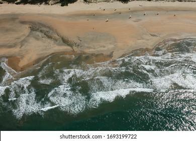 Photo aérienne de la Grande Plage de la Giraudière, Saint-Trojan-les-Bains, commune de l'île d'oléron, département de Charente-Maritime, France, Europe