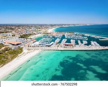 Aerial photograph of Hillarys Boat Harbour on the coast of Perth, Western Australia, Australia.