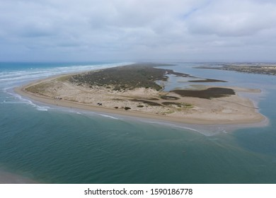 Aerial photograph the mouth of the River Murray near Goolwa in South Australia