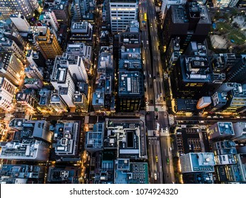 Aerial photograph of the night view of the city.