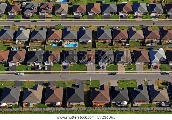 Aerial photograph of the North American suburb.