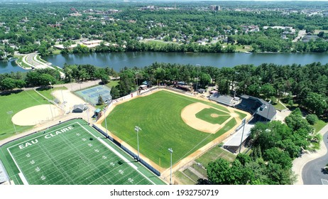 aerial photograph overlooking carson park baseball stadium and half moon lake eau claire wisconsin