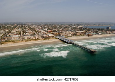 Aerial photograph of the Pacific Beach region of San Diego, California.  Crystal Pier is in the foreground.