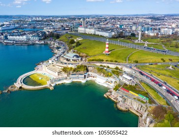 Aerial photograph of Plymouth Barbican and Plymouth Hoe.