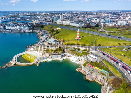 aerial photograph plymouth barbican plymouth hoe stock photo edit