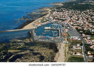 Photo aérienne du port de Cotinière, Saint-Pierre-d'Oléron, commune de l'île d'Oléron, département de Charente-Maritime, région Poitou-charentes, France, Europe