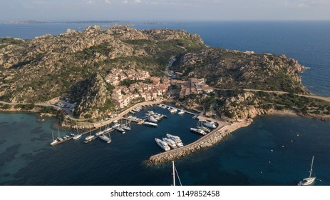 Aerial photograph of Porto Massimo and  in La Maddalena Island, part of La Maddalena Archipelago in the Emerald Coast of Sardinia. Rumour says this port is haunted.