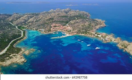 Aerial photograph of Porto Massimo and La Scogliera restaurant in La Maddalena Island, part of La Maddalena Archipelago in Emerald Coast of Sardinia. Rumour says this port is haunted.